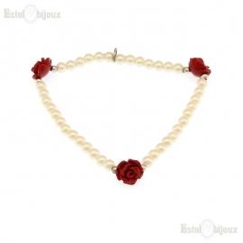 Pearls Rose Balls Bracelet