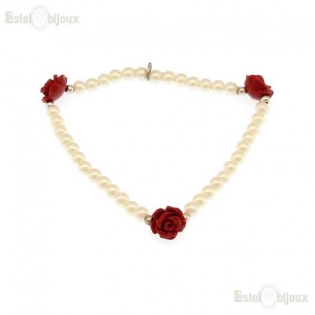 Bracciale Fiore Rosa e Perle