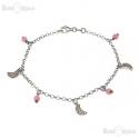 Crescent and CZ Silver Bracelet
