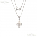 Silver Cross CZ Necklace