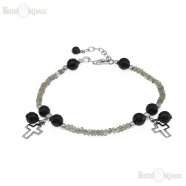 Cross and Stones Bracelet