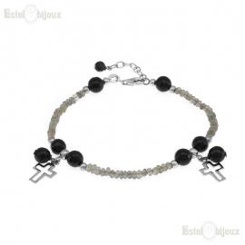 Cross and Stones Bracelet