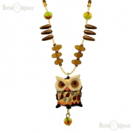 Owl Necklace Murano Glass