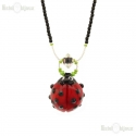 Ladybug Necklace Murano Glass