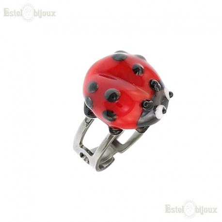 Ladybug Ring Murano Glass
