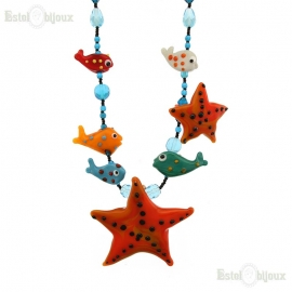 Starfish Necklace Murano Glass