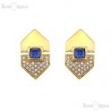 Blue Crystals Vintage Clip Earrings