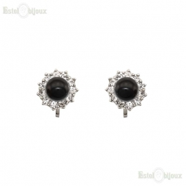 Black Bead Clip Earrings