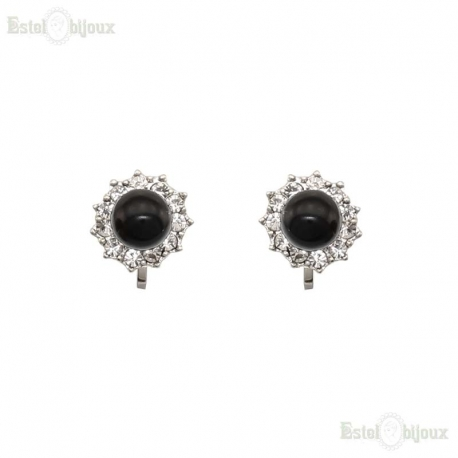 Black Bead Clip Earrings