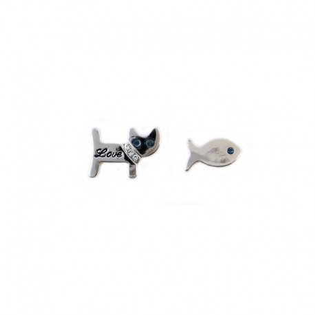 Earrings Cat and fish