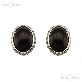 Oval Black Pearl Clip Earrings
