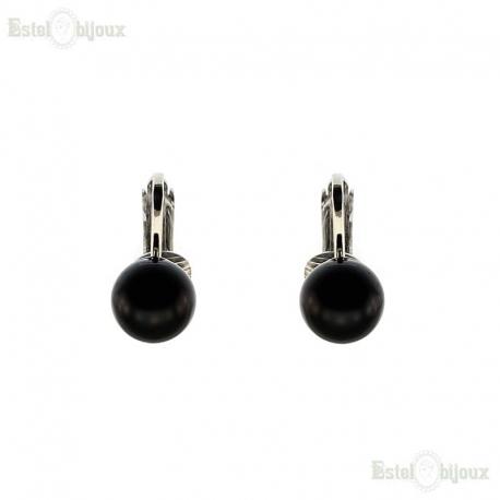 Black Pearl Clip Earrings
