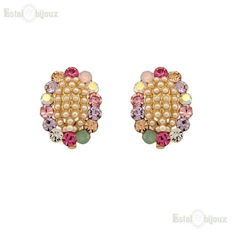 Pearls and Multi Crystals Clip Earrings