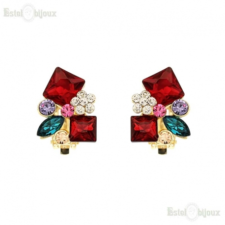 Chic Color Multi Crystals Clip Earrings