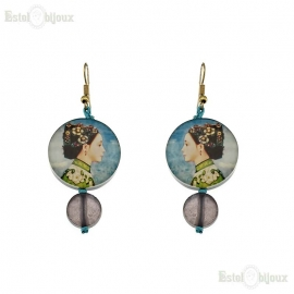 Fujishima Takeji Decoupage Earrings