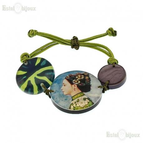 Fujishima Takeji Decoupage Cord Bracelet