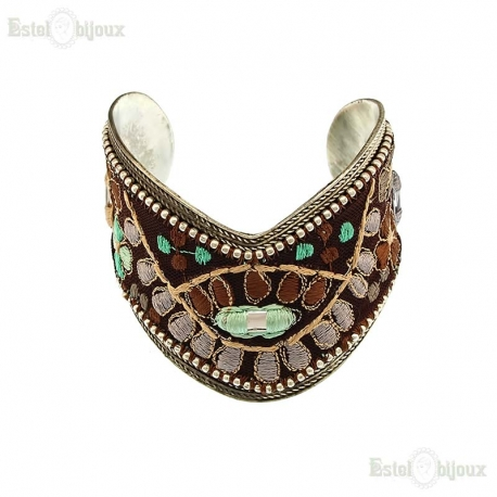 Fabric and Metal Bracelet