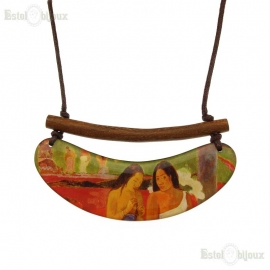 Decoupage Wood Necklace