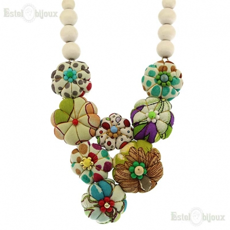 Flowers Fabric Wood Necklace