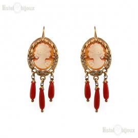 Earrings with Cameo & Coral