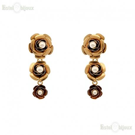 Roses and Pearls Earrings