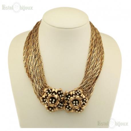 Collana in Stile Antico Fiori e Perle