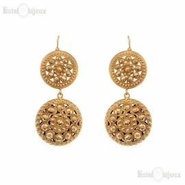 Two Round Antique Style Earrings