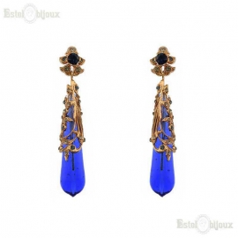 Drops Blue Glass Earrings