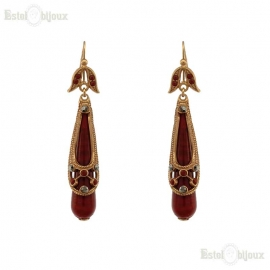 Drops Red Glass Earrings