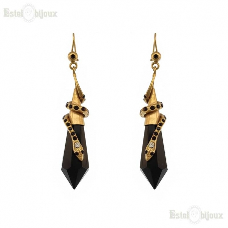 Snake and Onyx Antique Earrings