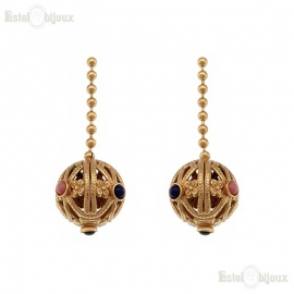 Ball and Stones Decorated Earrings