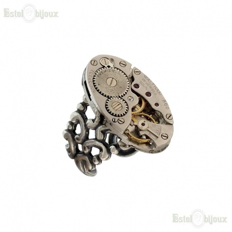 Clockwork Ring - Watch Movement Ring - Silver Filigree