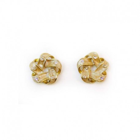 Flowers and Strass Enamel Earrings