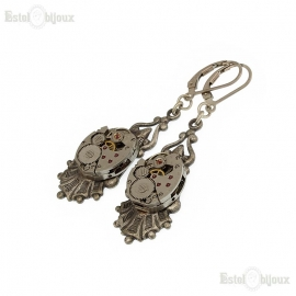 Clockwork Earrings - Silver Victorian Revival Setting