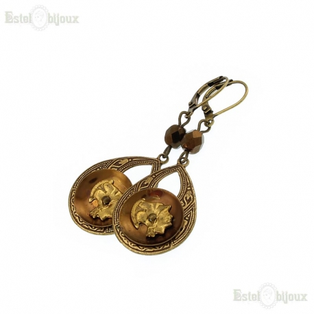 Antique Button Earrings- Roman Profile
