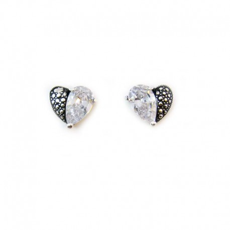 Earrings Heart CZ