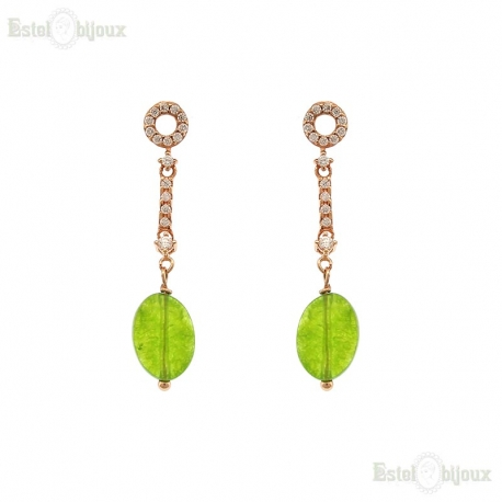 Jade Stone Sterling Silver Earrings