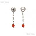 Jade Red Stone Silver Earrings