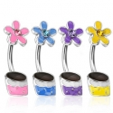 Epoxy Coated Gemmed Flower Pot Navel Ring