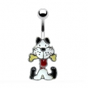 Dog w/Bone Dangle Navel Ring