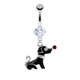 Dog Dangle Navel Ring
