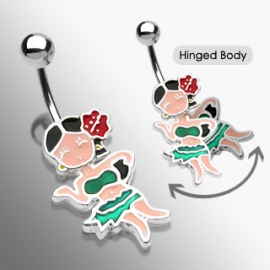 Dangling Hula Girl Navel Ring