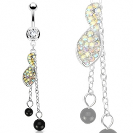 Aurora Boreale CZs Twist Cluster Dangle Navel Ring