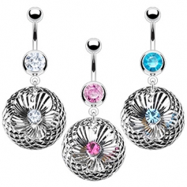 3D Plated Machine Cut Flower Navel Ring