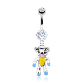 Teddy Bear Epoxy Color Accented Navel Ring