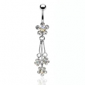 3 CZ Flower Dangle Navel Ring