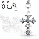 Gem Paved Vintage Cross Navel Ring