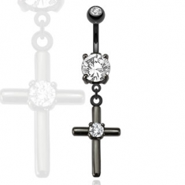 Cross Dangle Black IP Navel Ring