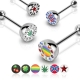 Gem Paved Half Dome Logo Top Barbell Piercing