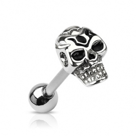 Casted Death Skull Top Barbell Piercing